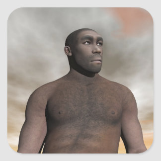 Male homo erectus - 3D render Square Sticker