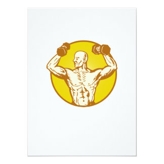 male human anatomy body builder flexing muscle 5.5x7.5 paper invitation card
