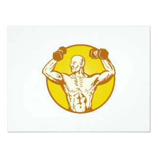 male human anatomy body builder flexing muscle 6.5x8.75 paper invitation card