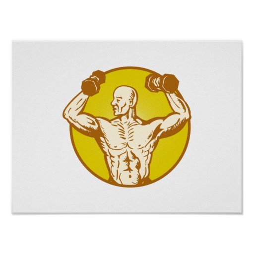 male human anatomy body builder flexing muscle poster