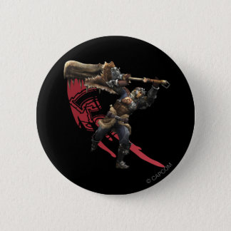 Male Hunter with great sword & hunter's armor Pinback Button