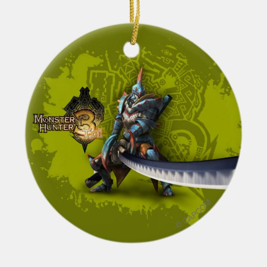 Male hunter with long sword & lagiacrus armor ceramic ornament