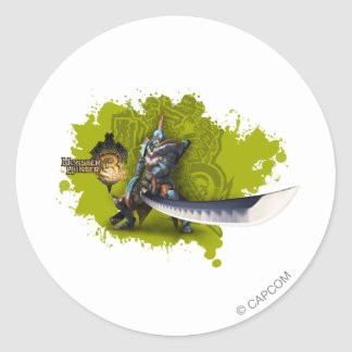 Male hunter with long sword & lagiacrus armor classic round sticker