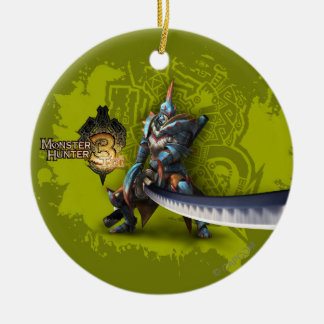 Male hunter with long sword & lagiacrus armor Double-Sided ceramic round christmas ornament