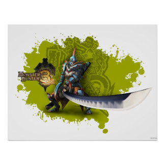 Male hunter with long sword & lagiacrus armor poster