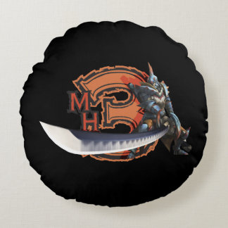 Male hunter with long sword & lagiacrus armor round pillow
