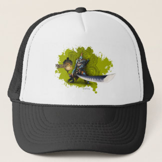 Male hunter with long sword & lagiacrus armor trucker hat