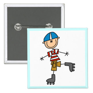 Male In-Line Skating Tshirts and Gifts 2 Inch Square Button