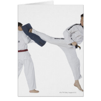 Male karate instructor teaching martial arts to 2 card