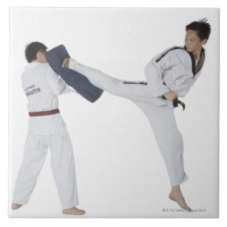 Male karate instructor teaching martial arts to 2 ceramic tile