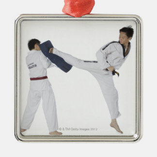 Male karate instructor teaching martial arts to 2 metal ornament