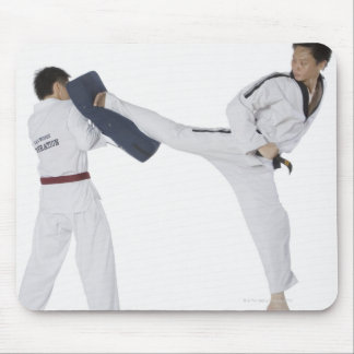 Male karate instructor teaching martial arts to 2 mouse pad
