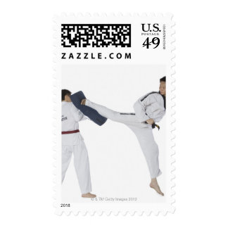 Male karate instructor teaching martial arts to 2 postage stamp