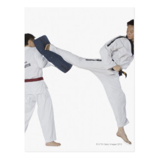 Male karate instructor teaching martial arts to 2 postcard