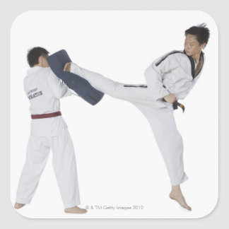 Male karate instructor teaching martial arts to 2 square sticker