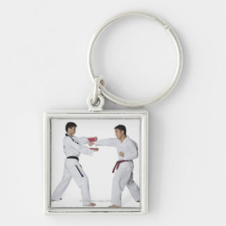 Male karate instructor teaching martial arts to keychain