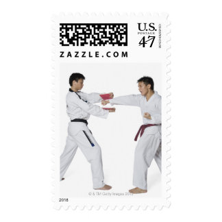 Male karate instructor teaching martial arts to postage