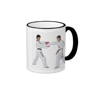 Male karate instructor teaching martial arts to ringer mug