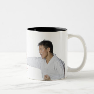 Male karate instructor teaching martial arts to Two-Tone coffee mug