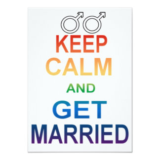 Male - Keep calm and Get Married Invitations