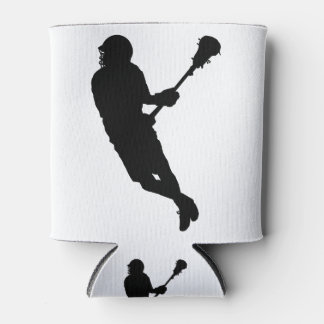 Male Lacrosse Player Silhouette Can Cooler