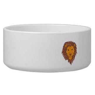 Male Lion Big Cat Head Drawing Bowl