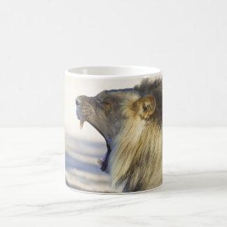 Male Lion Giving a Big Yawn or Growl Classic White Coffee Mug