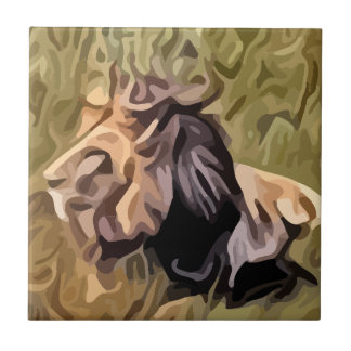 male lion painting tiles