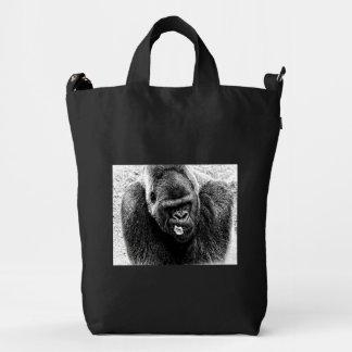 Male Lowland Silverback Gorilla, Black and White Duck Bag