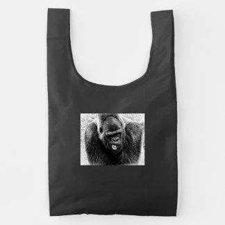 Male Lowland Silverback Gorilla, Black and White Reusable Bag