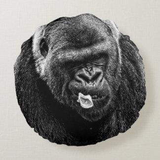 Male Lowland Silverback Gorilla, Black and White Round Pillow
