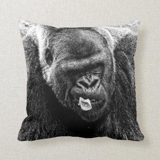 Male Lowland Silverback Gorilla, Black and White Throw Pillow