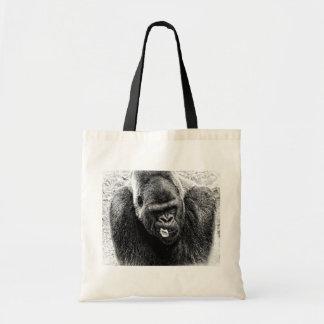 Male Lowland Silverback Gorilla, Black and White Tote Bag