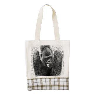 Male Lowland Silverback Gorilla, Black and White Zazzle HEART Tote Bag