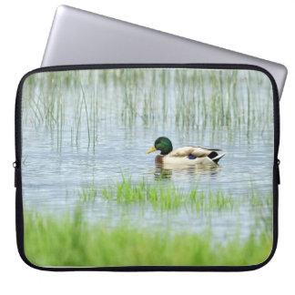 Male mallard duck floating on the water laptop sleeve
