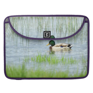 Male mallard duck floating on the water MacBook pro sleeve