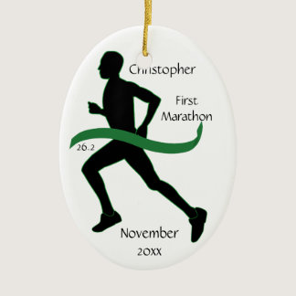 Male Marathon Runner Green Ribbon Ornament