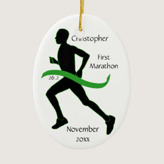 Male Marathon Runner Lt Green Ribbon Ornament