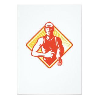 Male Marathon Runner Running Retro Woodcut 4.5x6.25 Paper Invitation Card