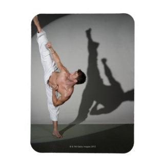 Male martial artist performing kick, studio shot flexible magnets