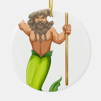 Male mermaid holding trident Double-Sided ceramic round christmas ornament