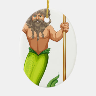 Male mermaid holding trident Double-Sided oval ceramic christmas ornament