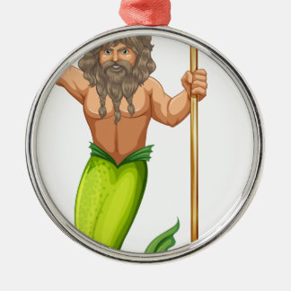 Male mermaid holding trident round metal christmas ornament