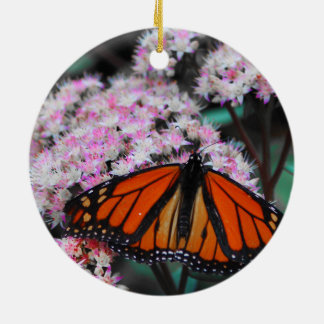 Male Monarch Butterfly Danaus Plexippus Double-Sided Ceramic Round Christmas Ornament