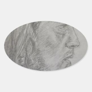 Male Muse Oval Sticker