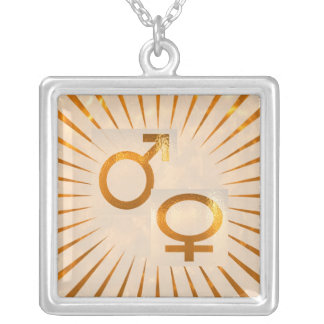 MALE n FEMALE Energy in balance Square Pendant Necklace