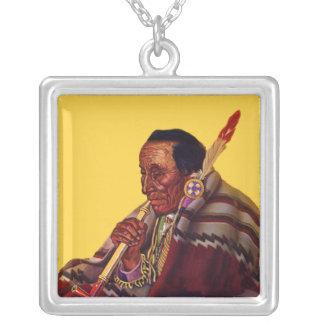 Male Native American Elder Blanket Peace Pipe Square Pendant Necklace
