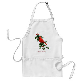 Male Northern Cardinal and Holly Adult Apron