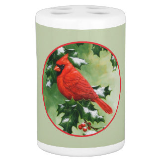 Male Northern Cardinal and Holly Bathroom Set