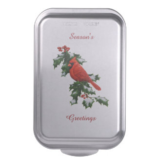Male Northern Cardinal and Holly Cake Pan